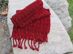 Stunning Red and Black Log Cabin Chenille Scarf by WheelerWoven #handweaversofetsy