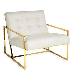 Minimalist Comfort.Pared down geometry. Polished brass meets swanky Rialto Navy velvet or luxe Lucerne Oyster linen in our Goldfinger Collection. The pitched seat and soft, button-tufted cushions make this rigorously minimal seat surprisingly cozy and comfy. A little bit '70s, a lot today. Goldfinger is the winning ticket that adds a Modernist vibe to your Park Ave pad or swanks up your Mid-Century abode.