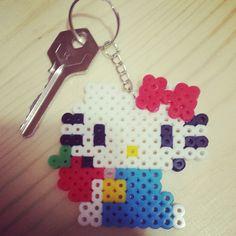 Hello Kitty keyring perler beads by shirley117