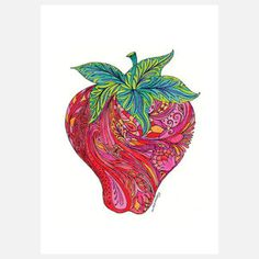 Strawberry, by Michele Doherty of Green Girl Canvas, now featured on Fab.