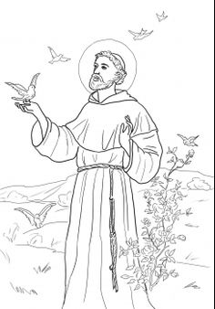 Catholic Coloring pages School Coloring Pages, Cat Coloring Page, Colouring Pages, Printable Coloring Pages, Adult Coloring Pages, Coloring Books, St Francisco, Christian Drawings, Saint Francis Prayer