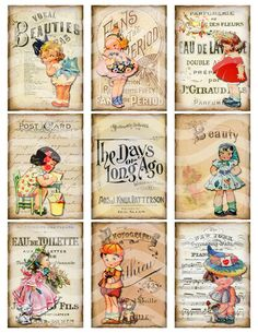 Digital Collage Sheet, Vintage Girls Printable Download, Altered Art Ephemera ATC ACEO size JPEG file. $3.75, via Etsy.