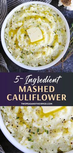 Mashed Cauliflower-A Delicious Low-Carb Side Dish That Is Flavored With Garlic, Herbs, And Butter. This Easy Cauliflower Mash Will Remind You Of Mashed Potatoes! Serve Along Side Your Holiday Meal Or Any Meal! Healthy Side Dishes, Healthy Sides, Veggie Dishes, Side Dish Recipes, Easy Dinner Recipes, Appetizer Recipes, Great Recipes, Keto Recipes, Favorite Recipes