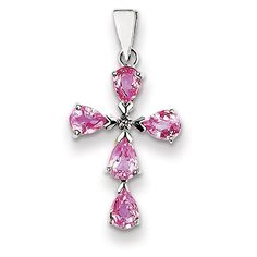 14k White Gold Genuine Diamond & Pink Sapphire Cross Pendant   Your #1 Source for Jewelry and Accessories