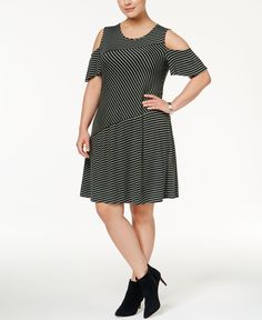 Style & Co Plus Size Flutter-Sleeve Cold-Shoulder Dress, Only at Macy's