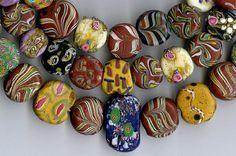 Antique Ventian tabular glass trade beads.