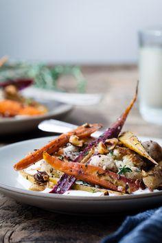 Za'atar Roasted Carrots & Cauliflower over Salted Yoghurt - Snixy Kitchen