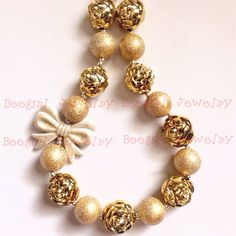 Chunky Gold wrinkle Beads Bowknot Chunky Bubblegum Girl necklace for kids CB649 #Beegirl #chunky