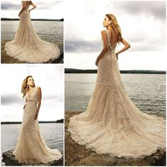Free Shipping sexy v neck Champagne Vintage lace beach wedding dresses 2013 Hot selling dreamybridal