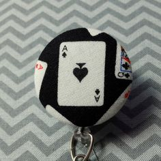 Ace of Spades Fabric Cover Button Badge Reel by SailorBettyShop, $6.00