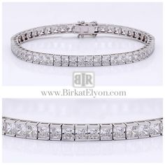 This classic cubic zirconia tennis bracelet features 0.20 carat each (3.5mm) princess cut in a 14k white gold channel setting. An approximate 10.10 total carat weight. This high quality cubic zirconia bracelet is 7 inches long, also available in different lengths via special order. - See more at: http://www.birkatelyon.com/cubic-zirconia-bracelets/princess-cut-B7251W#sthash.G1DRNkBA.dpuf