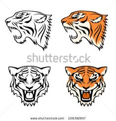 stock-vector-simple-line-illustrations-of-tiger-head-from-profile-and-front-view-suitable-as-tattoo-or-team-109392857.jpg (450×470)