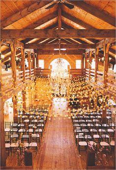 Amazing barn wedding! Love the gold star garlands.