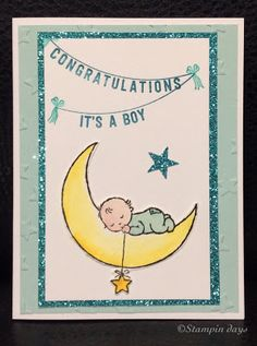 Moon baby, baby card, baby shower, any occasions, Stampin UP! Baby Shower Fun, Baby Shower Cards, Pink Baby Boy, Baby Shawer, Baby Barn, Crochet Baby Cocoon, New Baby Cards, Fancy Fold Cards, Stamping Up Cards