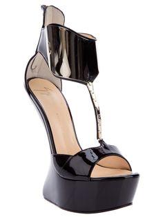 Giuseppe Zanotti T-Bar Gold Ankle Strap Heel-less Patent Leather Sandal