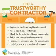 Find a Trustworthy Contractor #houselogic #TheHurstTeam