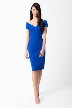 Off Shoulder Jersey Dress in Ultramarine - Shop | Tadashi Shoji