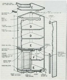 Woodworking plan for corner display cabinet. Complete woodworking plans with detail descriptions can be found on my website: www.tedswoodworkplans.com