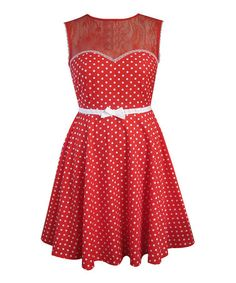 Take a look at this Friday On My Mind: Red Polka Dot & Lace Dress by Friday On My Mind on #zulily today!