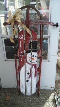 I painted thus cute snowman on vintage sled. Christmas Sled, Christmas Wood Crafts, Antique Christmas, Primitive Christmas, Outdoor Christmas Decorations, Rustic Christmas, Primitive Snowmen, Father Christmas, Primitive Wood Crafts