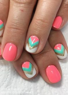 30 Summer and Spring Nails Designs and Art Ideas - April Golightly The top 20 Nails Designs for Summer like fruit nail art with pineapple and watermelons, mermaid nail designs, ideas for trips to Disney World and Legoland Spring Nail Art, Nail Designs Spring, Nail Designs For Kids, Cute Summer Nail Designs, Coral Nail Designs, Shellac Nail Designs, Pedicure Designs, Pretty Nail Designs, Toe Nail Designs Easy