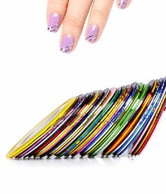 Mixed Colors Nail Rolls Striping Tape Line Decoration Sticker Nail Art Tips Fingernail Decal Tools *** Learn more by visiting the image link. Nail Art Kit, Nail Art Tools, Nail Art Hacks, Metallic Yarn, Metallic Nails, America Nails, Nails Plus, Lines On Nails, Striping Tape