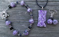 Unique 3 piece Purple Black and Silver  Polymer by clayandbeads4me, $35.00
