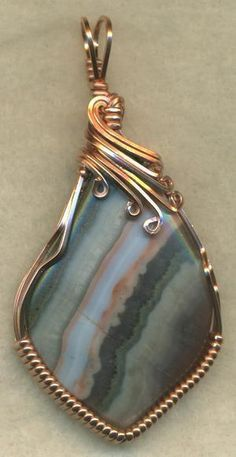 Amethyst Lace Agate Copper Wire Wrap Pendant