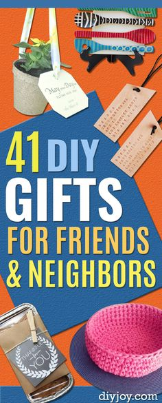 DIY Gifts - Pinterest Ideas to Make for Friends and Neighbors - Creative, Thoughtful Handmade DYI Gifts Diy Gifts To Make For Friends, Easy Gifts To Make, Cool Things To Make, Easy Diy Crafts, Creative Crafts, Fun Crafts, Crafts For Kids, Cool Diy Projects, Sewing Projects