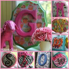 Monogram plaques - not a tutorial - but they sell these plaques at any craft store, cover it with scrapbook paper, paint the edges, and glue on a painted letter an accent color from the scrapbook paper!