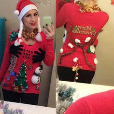 Ugly Christmas Sweater Made at Home ...Materials from Wal Mart and 99cent Stores