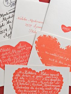 Calligraphic Hearts    Hand-printed valentines helped set the mood for this outdoor wedding in the City of Brotherly Love.