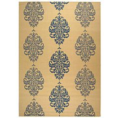 @Overstock - Courtyard All-Weather Collection rug features transitional Persian and European designs Indoor/outdoor rug features a natural background and a blue pattern Floor rug is constructed of 100-percent fine-spun polypropylenehttp://www.overstock.com/Home-Garden/Indoor-Outdoor-St.-Martin-Natural-Blue-Rug-710-x-11/4015540/product.html?CID=214117 $175.99