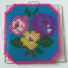 Floral frame perler beads by mairymx