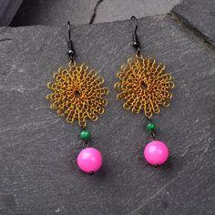 Dangle Earrings  Wire Crochet Mustard Flower by StudioDjewelry, $57.00