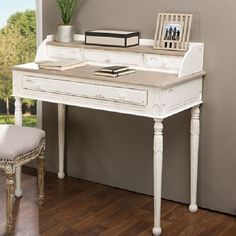 Writing Desk Home Office Study Workstation Antique Weathered Wood Vintage White | Home & Garden, Furniture, Desks & Home Office Furniture | eBay!