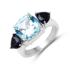Malaika .925 Sterling Silver 6 1/10ct TGW Genuine Blue Topaz and Black Sapphire Ring (Size-6, Blue), Women's