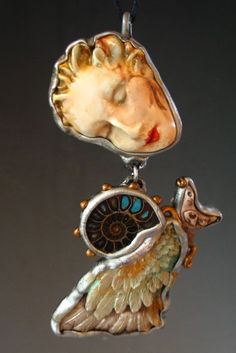 Art to wear goddess ammonite angel artistic handmade jewelry pendant necklace face hand spirit guide Guardian angel by Sorrentino by SusanSorrentino on Etsy