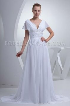 Robe de mariée manches courtes chiffon drapée col en V plage