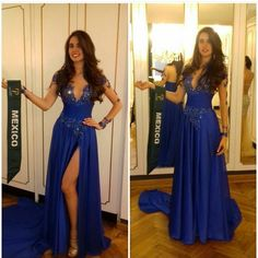 Royal Blue Arabic Split Evening Dresses 2016 Illusion V Neck Long Sleeves Long Formal Evening Gowns Sequin Sheer Back Prom Dress Gowns Long Dresses From Angelia0223, $162.86| Dhgate.Com