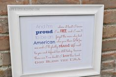 proud to be an American printable framed