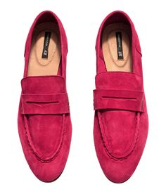 Red penny loafers in premium-quality suede. | H&M Shoes