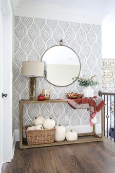 25 Best Hallway Walls Make Your Hallways Renovation - Best Home Ideas and Inspiration Decorating our Hallway for Fall 2018 - Bower Power Hallway Wallpaper, Hallway Walls, Upstairs Hallway, Upstairs Landing, Hallway Ideas, Wallpaper Ideas, Entryway Console, Entryway Decor, Hall Way Decor