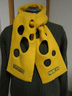 Green Bay Packers Fleece CheeseHead Scarf - Free Shipping. $30.00, via Etsy.