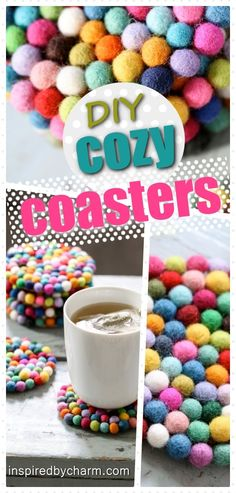 30 Easy Craft Ideas That Will Spark Your Creativity (DIY Projects For Adults) DYI easy quick project idea great for kids or elderly. Make as a gift or add it as a pop of color in your home. This would also work using Pom Poms. Make larger and use as a fel Upcycled Crafts, Easy Diy Crafts, Creative Crafts, Diy Crafts For Kids, Crafts To Sell, Craft Ideas, Diy Ideas, Project Ideas, Simple Crafts