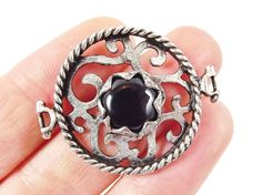 Black Jade Stone Fretworked Circle Connector by LylaSupplies, $8.50