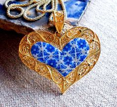 Portugal Filigree Heart Pendant Necklace with Azulejo by Atrio,