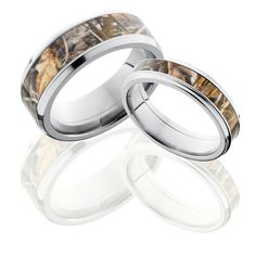 Get a matching set of titanium wedding bands for you both in various camo patterns. Both rings will come in the camo pattern selected or you can specify at checkout if you would prefer they each be different.
