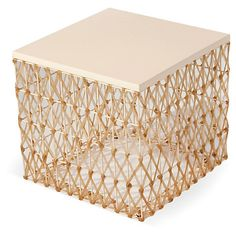 Weave Side Table, Cream $325.00