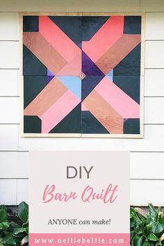 This DIY Barn Quilt is made using 4 smaller pieces of plywood to create the large size making it much easier for anyone to make with simple tools. #Barnquilt #DIY #Decor #Wood Cute Diys, Easy Diy, Barn, Diy Crafts, Crafty, Quilts, Canning, Simple, How To Make